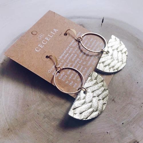 Cecelia Geometric Hoop Gold Braided Leather Earring