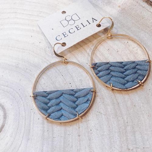 Cecelia Half Moon Grey Braided Leather Earring
