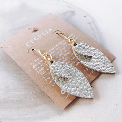 Cecelia Small Double Feather Champagne Leather Earring