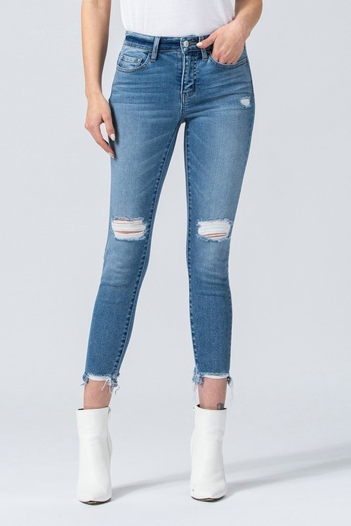 Mid Rise Distressed Hem Crop Skinny