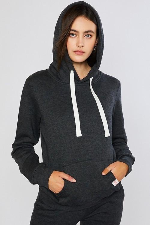 Basic Fleece Pullover Hoodie Charcoal
