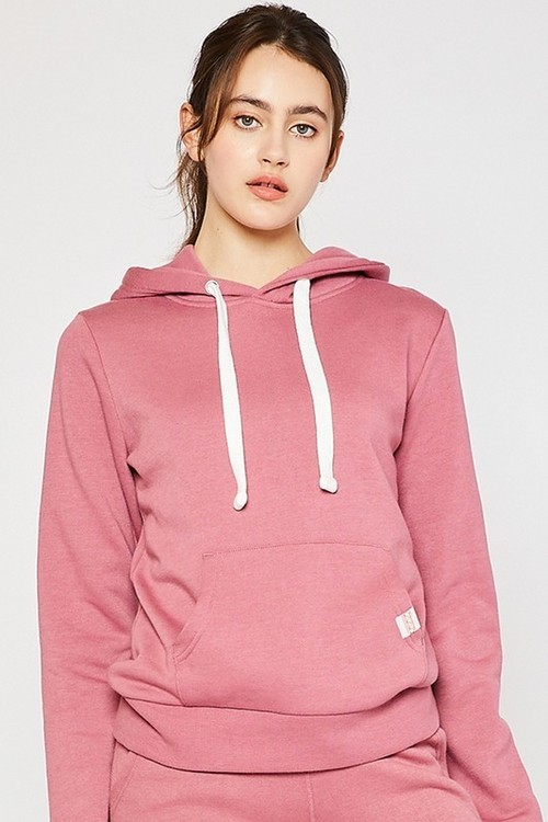 Basic Fleece Pullover Hoodie Begonia Pink
