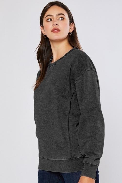 Basic Pullover Hacci Sweatshirt Dark Charcoal