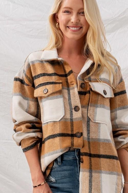 Brown Checkered Oversized Shirt Jacket