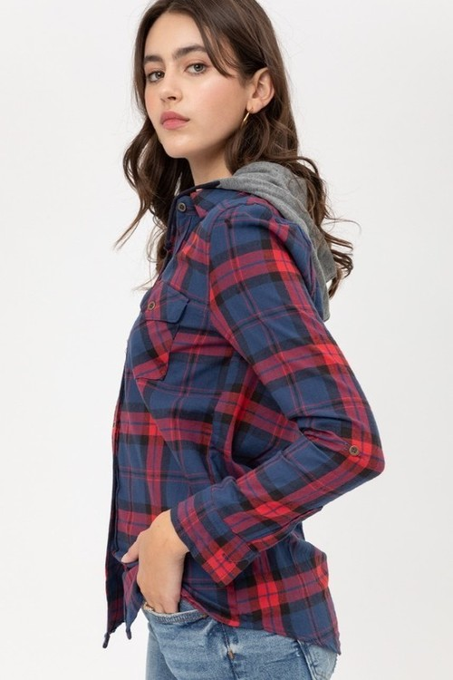 Navy Plaid Button Down Shirt w/ Hood