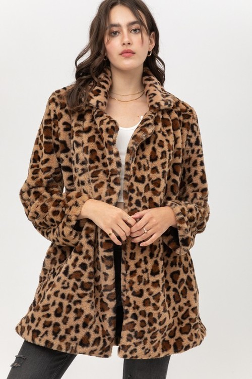 Fur Leopard Printed Coat