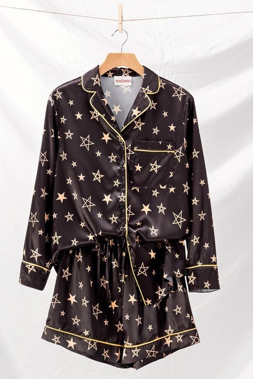 Gold Star Satin Pajama Set