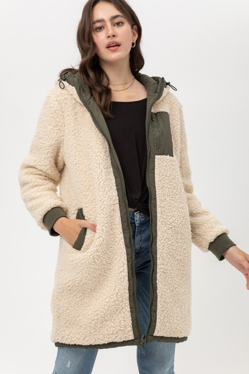 Reversible Olive & Natural Sherpa Coat