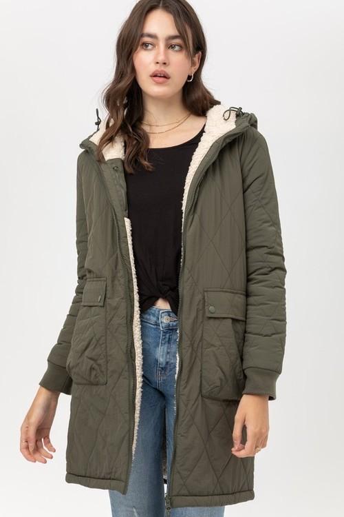 Reversible Olive & Natural Sherpa Coat