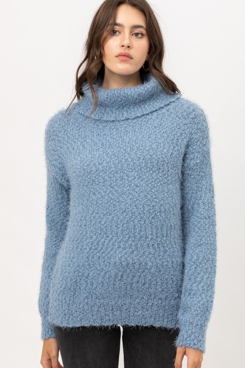 Fuzzy Yarn Turtleneck Sweater Blue Stone