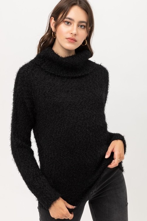 Fuzzy Yarn Turtleneck Sweater Black