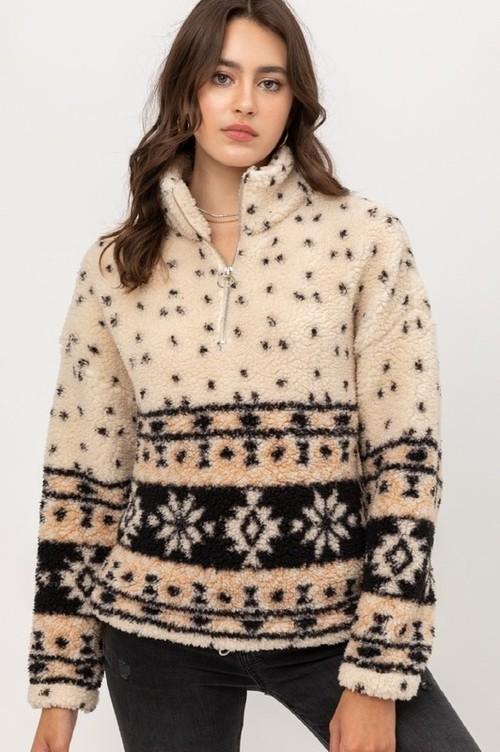 Aztec Sherpa Half Zip Pullover Cream