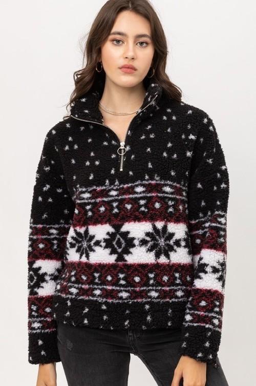 Aztec Sherpa Half Zip Pullover Black