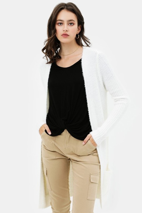 Open Front Cardigan Sweater w/ Pockets White