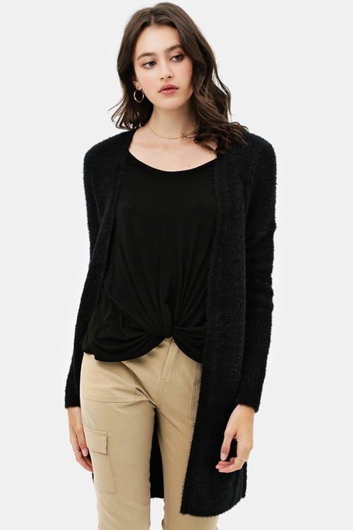 Open Front Cardigan Sweater w/ Pockets Black