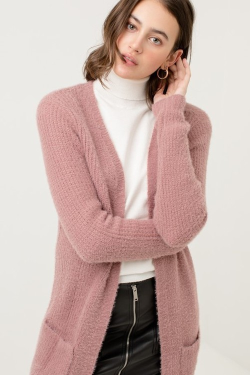 Open Front Cardigan Sweater w/ Pockets Mauve