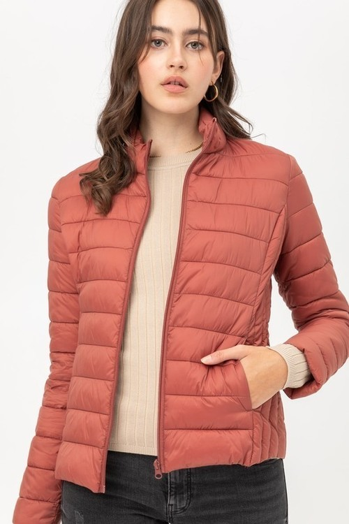 Rust Padded Zip Front Coat