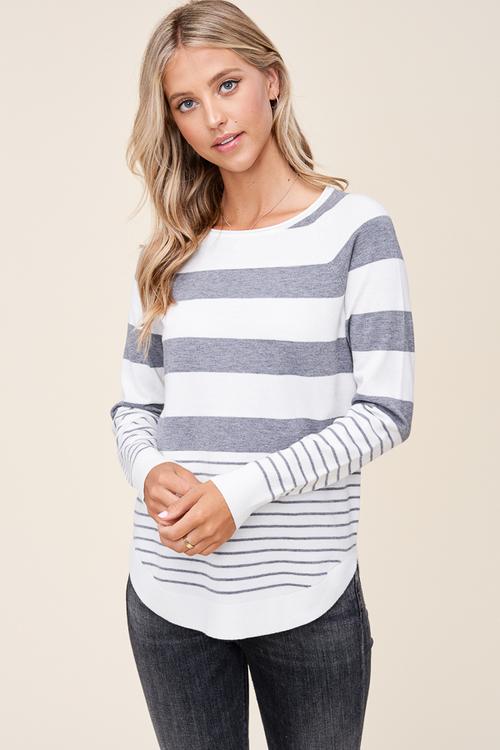 Round Neck Mixed Stripe Pullover