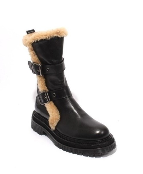 Black Beige Leather Fur Zip Buckle Mid Boots