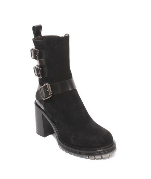 Black Suede Zip Buckle Ankle Platform Heel Boots