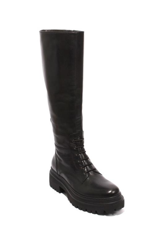 Black Leather Zip-Up Knee-High Platform Boots