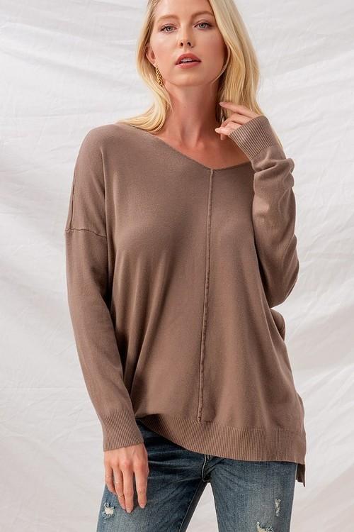 Mocha Soft High Low Tunic Sweater