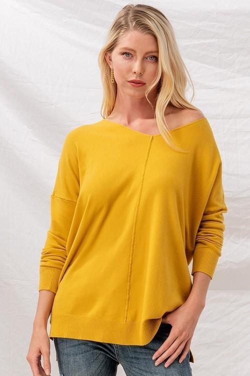 Mustard Soft High Low Tunic Sweater