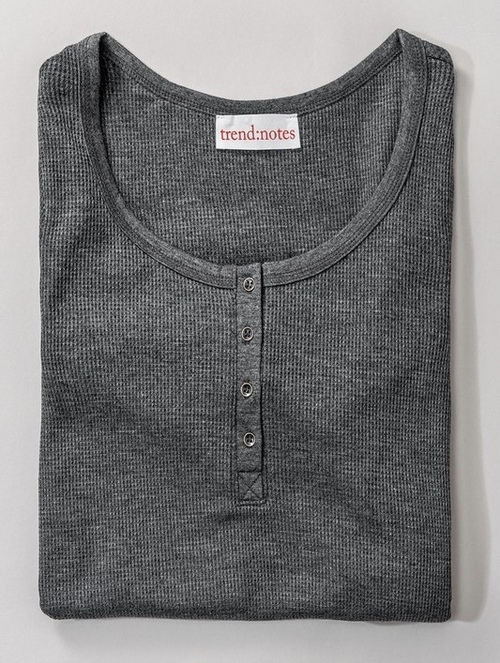 Waffle Knit Button Neck Henley