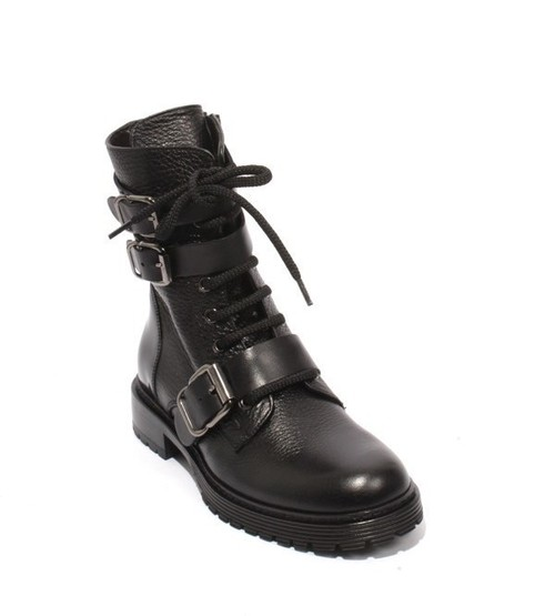 Black Leather Lace-Up Zip-Up Buckle Ankle Boots