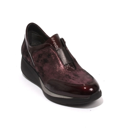 Burgundy Suede Patent Leather Elastic Wedge Shoes Sneaker