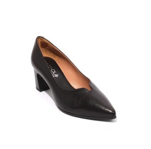 Black Leather Deep Vamp Pointy Pumps Heel Shoes