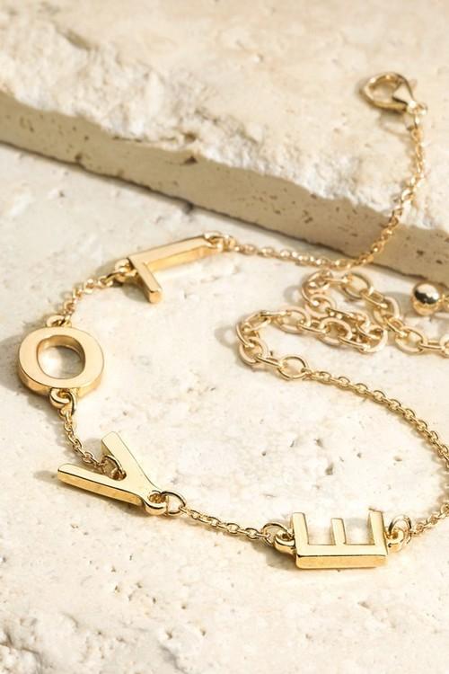 Love Letter Charm & Metal Chain Bracelet