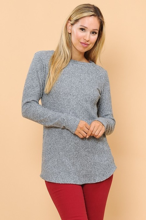 Basic Waffle Long Sleeve Top