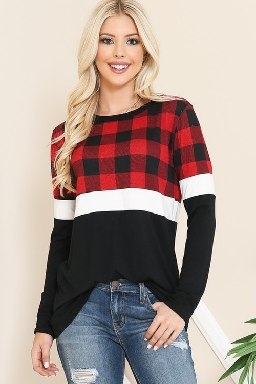 Color Block Buffalo Plaid Long Sleeve Top