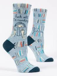Blue Q W Socks fuck off I'm reading