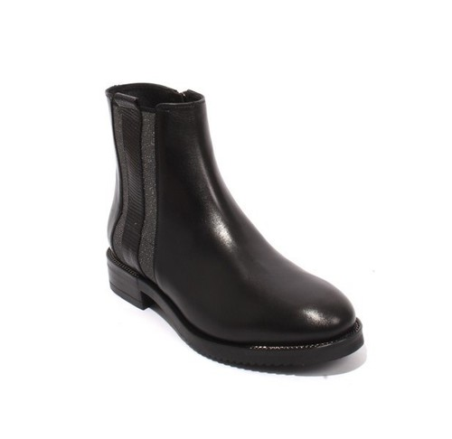 Black Silver Leather Elastic Zip-Up Ankle Boots