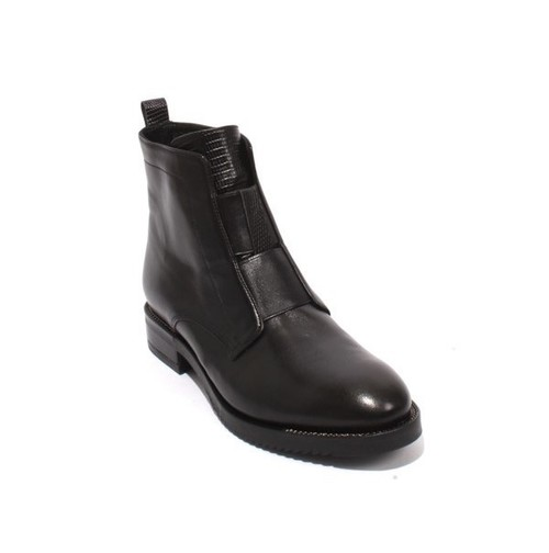Black Leather Elastic Zip-Up Ankle Boots