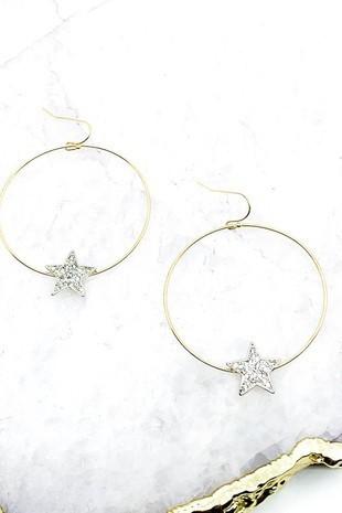 Gold Star Hoop Drop Earrings