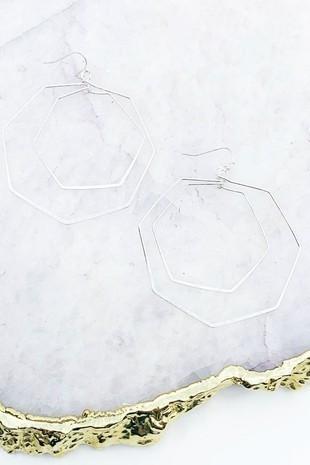 Silver Multi Heaxagon Drop Earrings