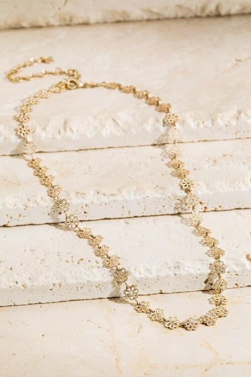 Brass Flower Linked Necklace