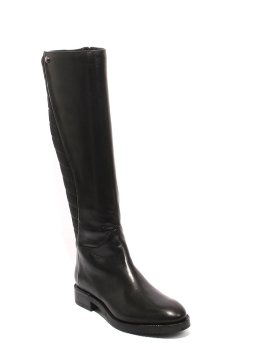 Black Leather / Stretch Zip-Up Knee High Riding Boot