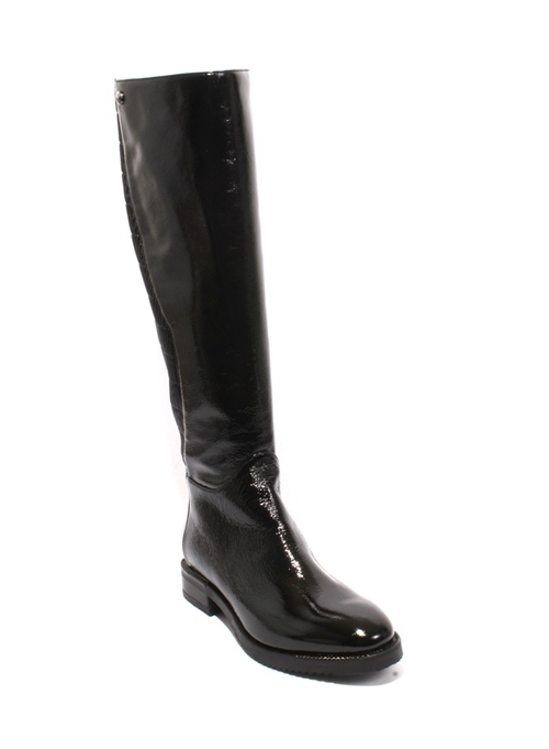 Black Patent Leather Stretch Zip Knee High Riding Boot