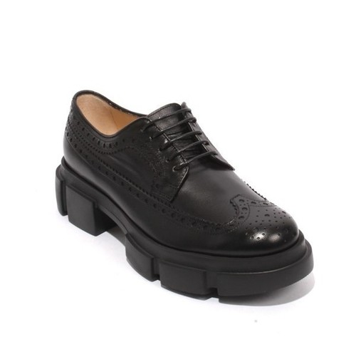 Black Leather Lace Up Oxfords Platform Shoes