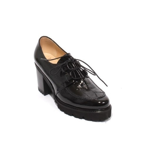 Black Patent Leather Lace Up Loafers Heel Shoes