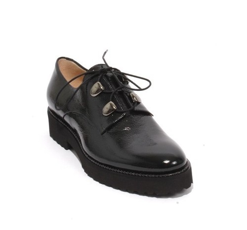 Navy Patent Leather Lace Up Loafers Comfort Shoes