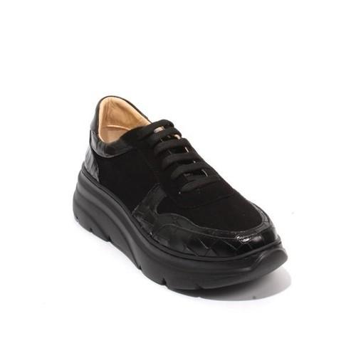 Black Leather Suede Lace-Up Platform Sneaker Shoes