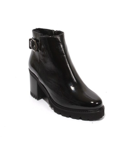 Black Patent Leather Shearling Ankle Heel Boots