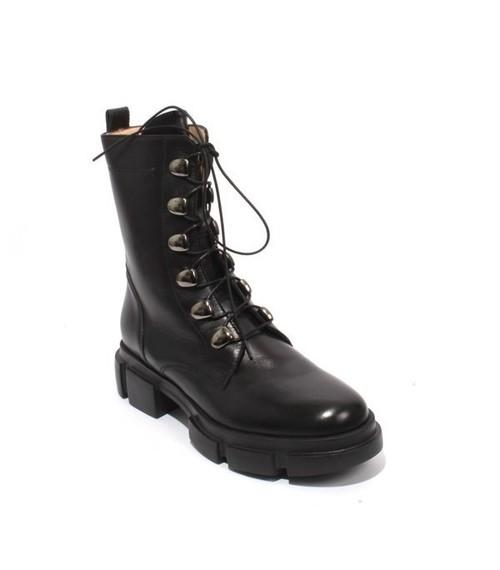 Black Leather Zip Lace Ankle Platform Boots