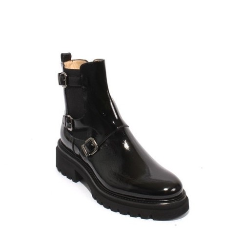 Black Patent Leather Elastic Zip Ankle Buckle Boot