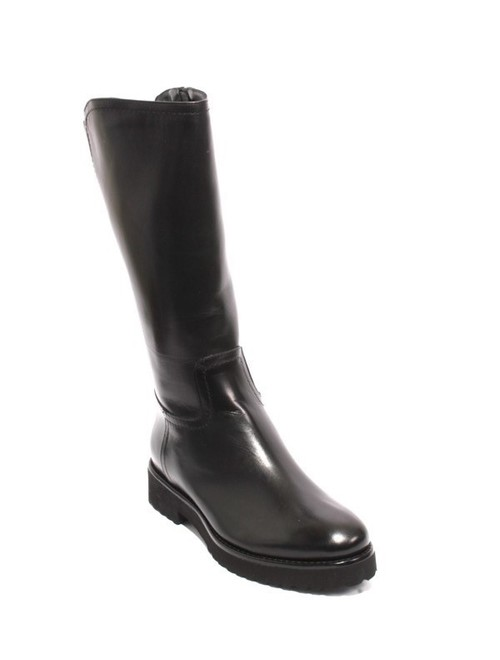 Black Leather Shearling Elastic Mid-Calf Zip Boot